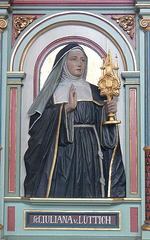 Juliana of Liège - Image: Merazhofen Pfarrkirche Chorgestühl links Juliana