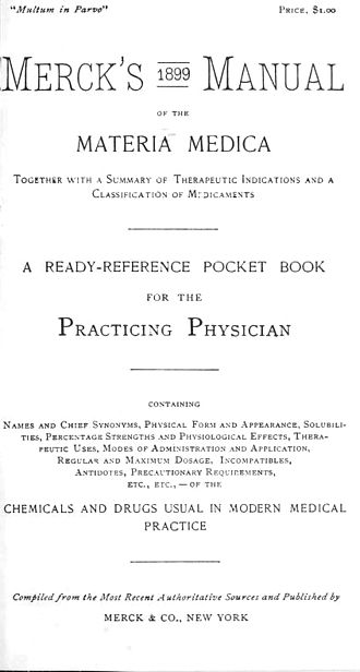 Merck Manual of Diagnosis and Therapy - Coverpage of facsimile edition of 1899 Merck's Manual of the Materia Medica