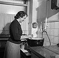 Mevrouw Nak achter het fornuis in haar keuken, Bestanddeelnr 252-9023.jpg