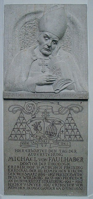 Michael von Faulhaber - Memorial stone of von Faulhaber in the Munich Frauenkirche
