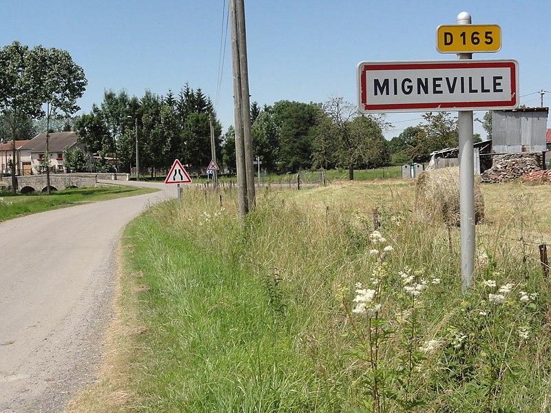 Mignéville (M-et-M) city limit sign