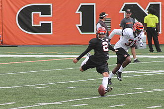 Mike Nugent - Nugent kicking off during the Bengals' training camp in 2012