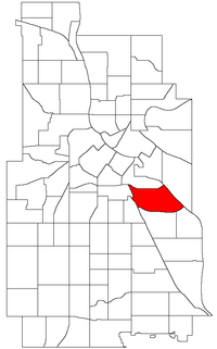 Location of Seward within the U.S. city of Minneapolis