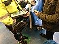Mobile portable ticket sale debit and credit card payment machine reader, money bag with money changer coin dispenser, etc. for ticket sale on car ferry (billettkjøp på bilferge), Venjaneset-Hattvik line, Norway 2018-03-21 B.jpg