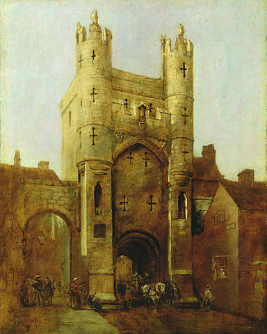A painting of Monk Bar in York, painted in shades of yellow, gold and brown, it looks like a classical city gate.
