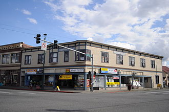 Monroe, Washington - The Doloff-Key building at the very center of old Monroe, the corner of Main and Lewis Streets, dates back to 1901. Pictured here in 2009.