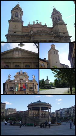 Top: Cathedral of Royal Saint Mary; second left: Navarra Palace; second right: San Saturnino Church; third left: Pamplona City Hall; third right: Monument of Julian Gayarre in Taconera Park; Bottom: Castle Square