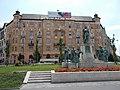 Monument of Prince St. Emeric (Zsigmond Strobl Kisfaludi work, 1930, limestone base, bronze) & Moricz Zsigmond Square' building complex (detail) listed ID 8242 - 14-16, Moricz Zs. Sq., Budapest District XI., Hungary.JPG