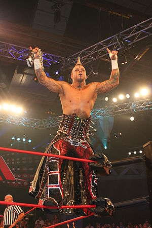 Professional wrestler Shannon Moore at the TNA...