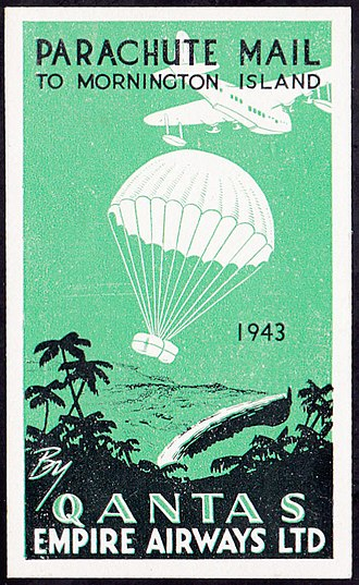 Mornington Island - A vignette for affixing to mail for the 1943 Christmas parachute drop to Mornington Island Mission
