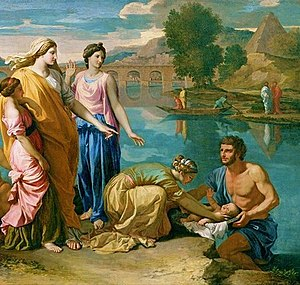 Moses - Finding of Moses (detail), 1638, by Nicolas Poussin