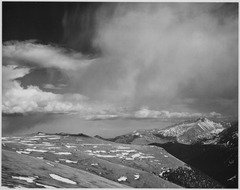 "Mountain tops, low horizen, low hanging clouds""In Rocky Mountain National Park,"" Colorado., 1933 - 1942 - NARA - 519965.tif"