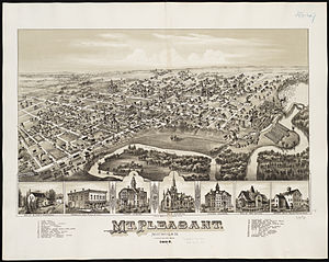 Mount Pleasant, Michigan - 1884 map of Mt. Pleasant.