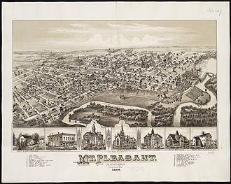 Mount Pleasant, Michigan - 1884 map of Mt. Pleasant.