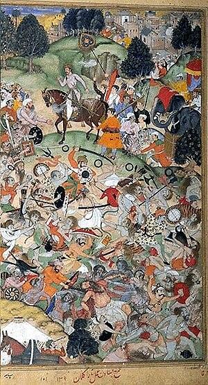 Battle of Thanesar - Akbar viewing the Mughal army killing sannyasis, Akbarnama (1590-1596)