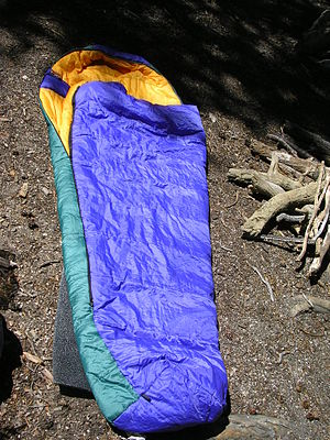 "A sleeping bag, of the ""mummy"" varie..."