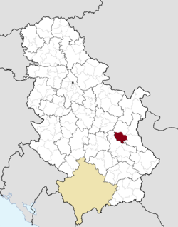 Location of the municipality of Sokobanja within Serbia
