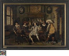 Musicerend en drinkend gezelschap in een herberg