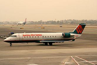 America West Express - An America West Express CRJ-200LR on a murky Los Angeles morning.