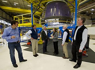 Jeff Bezos - Bezos giving NASA Deputy Administrator Lori Garver (fourth from left) a tour of Blue Origin's crew capsule in 2011.