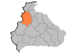 Map of Kangwon showing the location of Poptong