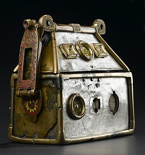 House-shaped shrine Type of portable reliquary in the shape of a house