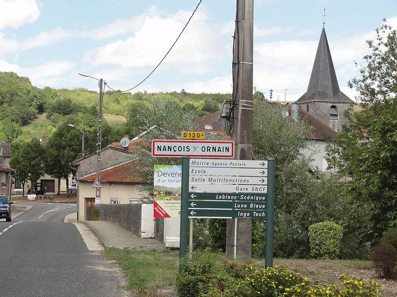 Nançois-sur-Ornain (Meuse) city limit sign