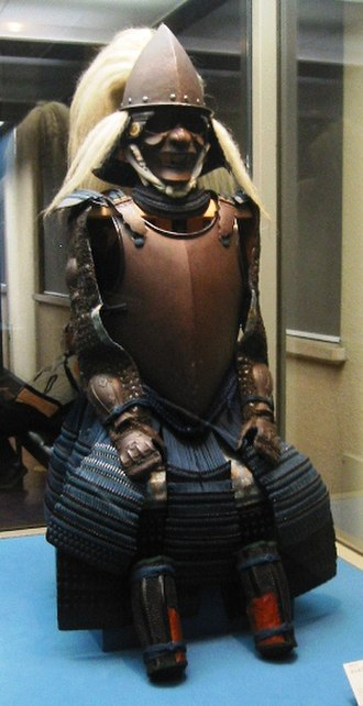 Japanese armour - Nanban dou (dō) gusoku, a Japanese (samurai) suit of armour with a western-style cuirass (dou or dō) made of plate armour. Tokyo National Museum.