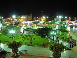 Nazca Main Square Garden, at night
