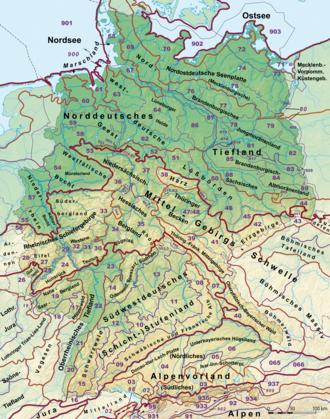 Natural regions of Germany - Germany's major natural regions - Level 1: dark red, 2: orange, and 3: violet; major landscape unit groups: thin violet - based on the BfL classification
