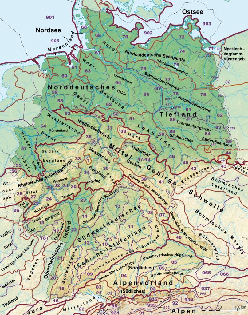 Крупные природно-территориальные комплексы Германии. Свободное изображение Википедии, автор Elop.