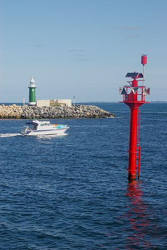 Navigability - Navigation markers, entrance of Fremantle harbour and the Swan River, Western Australia