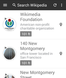 """Nearby"" feature in Wikipedia beta Android app, cropped"