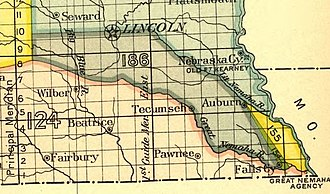 Nemaha Half-Breed Reservation - A map of the Nemaha Half-Breed reservation as defined in the Treaty of Prairie du Chien in 1830. The reservation is shown in sections 154 and 155 at the bottom right corner of the map.