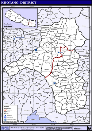 Khotang District - Map of the VDCs in Khotang District