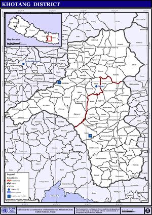 Khotang District - Map of the VDCs in Khotang District