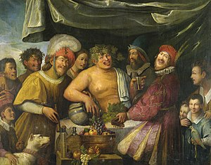 The Triumph of Bacchus - Niccolò Frangipane (d. 1597, attributed to) Bacchanal. Here too Bacchus has brought a single companion from the world of mythology.