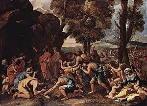 משה מכה בסלע עם מקל