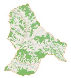 """Mapa konturowa gminy Niebylec, w centrum znajduje się punkt z opisem """"Blizianka"""""""