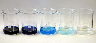 Nile blue - Nile blue hydrochloride in water. Concentrations, left to right: 1000 ppm, 100 ppm, 10 ppm, 1 ppm, 100 ppb.