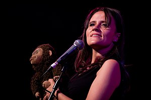 Nina Conti - Conti (right) performing with Monk (left) at the Glastonbury Festival 2010