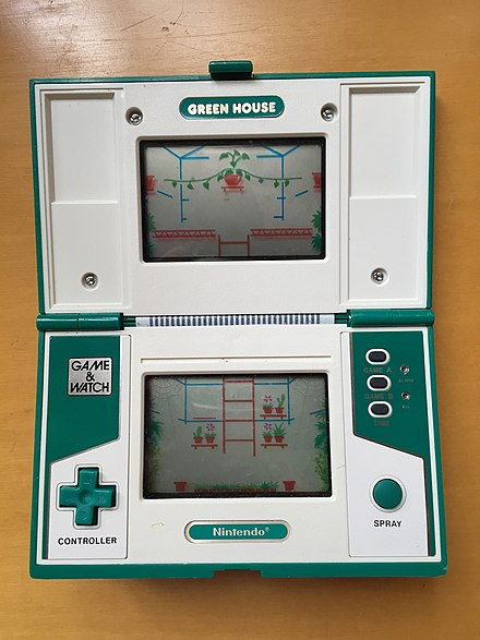 Green House, a popular 1982 handheld game by Nintendo Nintendo Game&Watch - Green House.jpg
