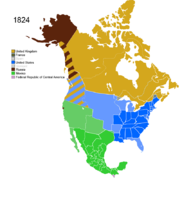 Map showing Non-Native Nations Claim over NAFTA countries c. 1824