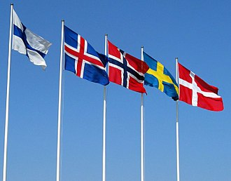 Nordic model - Flags of the Nordic countries from left to right: Finland, Iceland, Norway, Sweden and Denmark