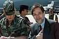 North Atlantic Treaty Organization (NATO) Secretary General Dr. Javier Solana (right) and GEN William Crouch, Commander Stabilization Force (SFOR) upon Dr. Solana's arrival in Saraj - DPLA - bd6d6e5b368c2b3de6fabef0ada6f480.jpeg