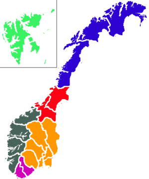 2009 Norwegian spiral anomaly - Map of Norway in which the light was observed in the red (Trøndelag) and blue (Northern Norway)