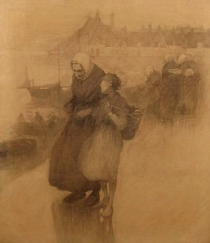 Frank O'Meara - On the quays (1888) charcoal on canvas