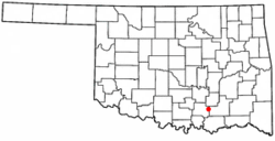 Location of Wapanucka, Oklahoma