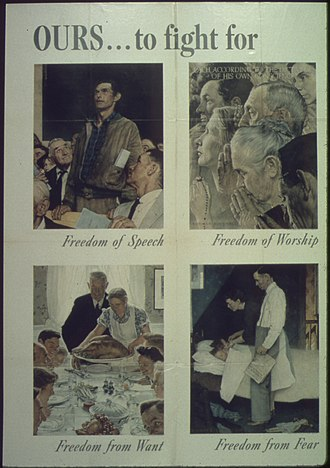 Freedom - Four Freedoms, a series of paintings meant to describe the freedoms for which allied nations fought in World War II.
