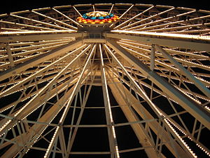 Looking up the side of a Ferris wheel at night...